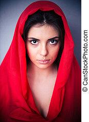 bonito, pano, mulher, vermelho, retrato