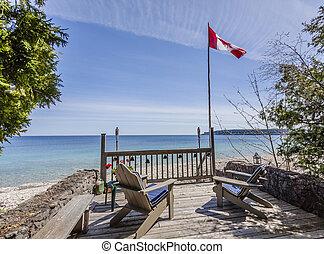 bonito, panorâmico, propriedade, waterfront