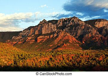 bonito, panorâmico, vermelho, arenito, rocha, paisagem