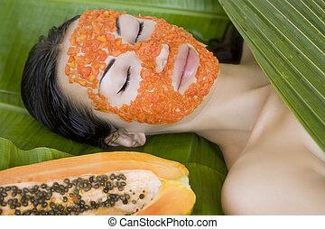 bonito, pap, mulher, papaia, máscara, facial, fresco, apply., tendo