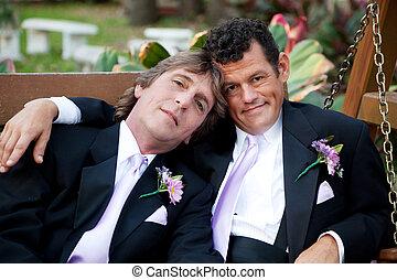 bonito, par, casório, homossexual