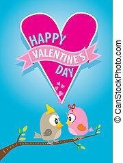 bonito, par, dia, valentine, pássaros, cartão