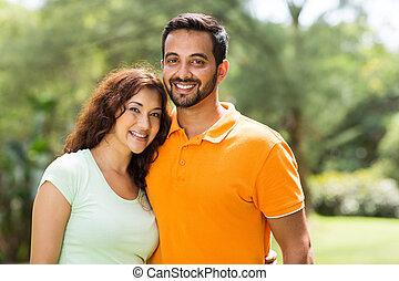 bonito, par, indianas, jovem