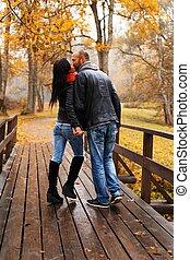 bonito, par, middle-aged, outono, ao ar livre, beijando, dia...
