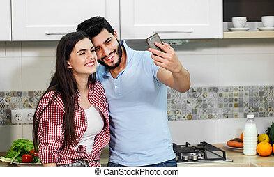 bonito, par, selfie, leva