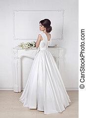 bonito, parede, modernos, contra, luxuoso, noiva, posar, casório, branca, charming, vestido