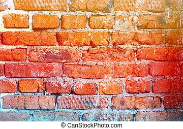 bonito, parede, tijolo, vermelho