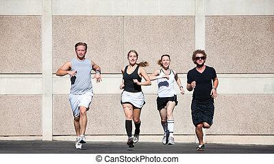 bonito, pares, saída, para, um, manhã, run.