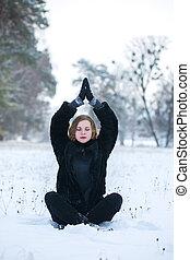 bonito, parque, mulher meditando