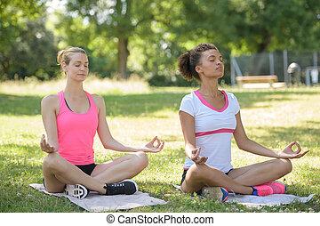 bonito, parque, prática, ioga, mulheres