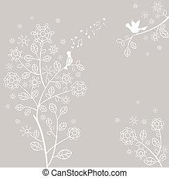 bonito, pastel, cartão, primavera