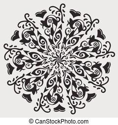 bonito, patterned, -, elemento, vetorial, desenho, mandala