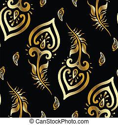 bonito, pavão, feathers., pattern., ouro