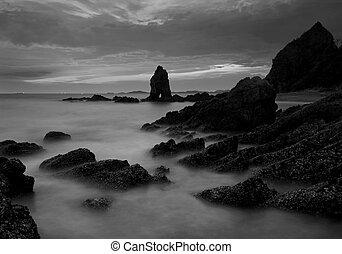 bonito, pedra, pretas, pôr do sol, praia branca