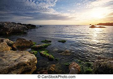 bonito, pedras, mar, pôr do sol, musgo, crimea, paisagem