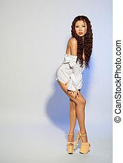 bonito, pelada, camisa, asiático