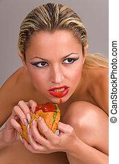 bonito, pelado, comer, mulher, hamburger
