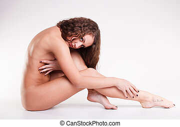 bonito, pelado, corporal, isolado, branco, fundo