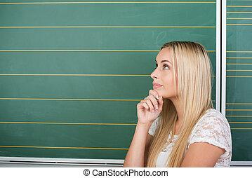 bonito, pensativo, jovem, estudante