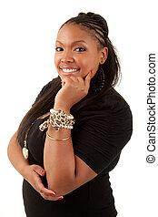 bonito, pensativo, mulher americana africana