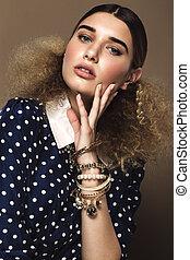 bonito, penteado, beleza, clássicas, rosto, retro, maquiagem, menina, roupa, style., arte
