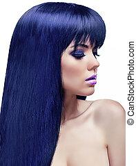 bonito, penteado, coloração, beleza, saudável, longo, girl., morena, hair., modelo, woman.