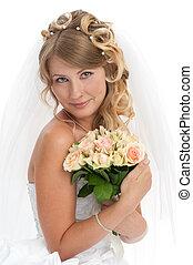 bonito, penteado, elegante, jovem, noiva