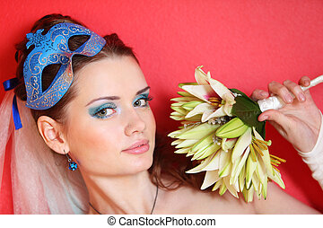 bonito, penteado, lírios, segura, buquet, maquilagem, máscara, azul, noiva, fundo, vermelho