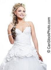 bonito, penteado, loura, menina, maquilagem, noiva, luminoso, fundo, casório, vestido branco, sorrir feliz