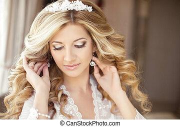 bonito, penteado, makeup., noiva, retrato casamento, vestido