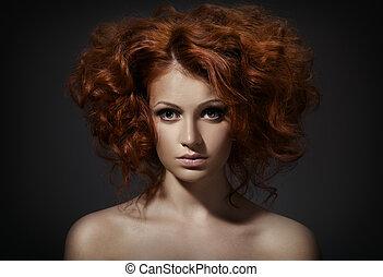 bonito, penteado, mulher, cacheados, contra, experiência escura