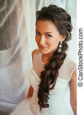 bonito, penteado, mulher, final, recém casado, maquilagem, foco, jovem, preparação, noiva, esperando, noivo., quarto, moment., wedding., casório, casamento, retrato, macio, dia, feliz