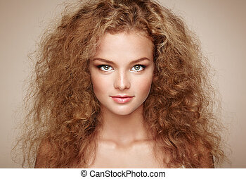 bonito, penteado, mulher, jovem, elegante, moda, retrato