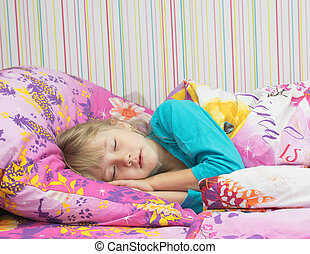 bonito, pequeno, bed., menina