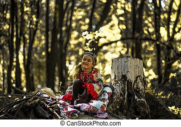bonito, pequeno, natureza, indigenas, menina, tocando