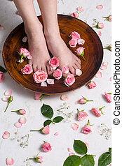 bonito, pequeno, pernas, tomar, banho