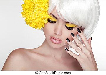 bonito, perfeitos, conceito, dela, beleza, face., spa, tocar, juventude, skin., mulher, portrait., model., puro, pele, fresco, cuidado