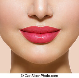 bonito, perfeitos, lips., excitado, boca, closeup
