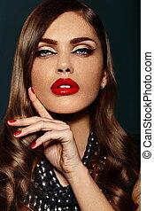 bonito, perfeitos, look.glamor, moda, retrato, lábios, maquilagem, jovem, alto, luminoso, mulher, closeup, limpo, excitado, pele, elegante, modelo, caucasiano, vermelho