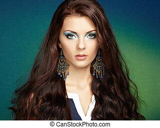 bonito, perfeitos, mulher, earring., foto, makeup., moda, morena, retrato