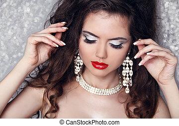 bonito, perfeitos, mulher, jóia, beauty., fazer, lights., cima, moda, retrato, partido, sobre