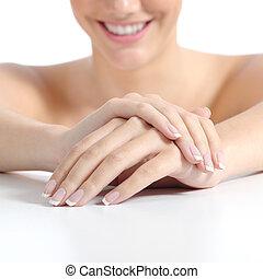 bonito, perfeitos, mulher, pregos, manicure francês, mãos