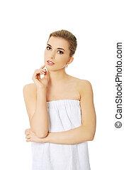 bonito, perfeitos, mulher, skin., fresco, spa