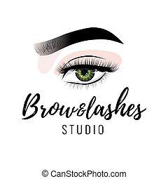 bonito, perfeitos, supercílios, maquilagem, lashes olho, sobrancelha, vetorial, estúdio, longo, pretas, desenho, logotipo