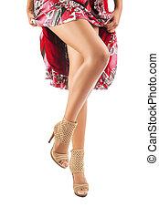 bonito, pernas, de, femininas, isolado, branco, fundo
