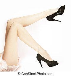 bonito, pernas, longo