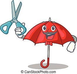 bonito, personagem, barbeiro, guarda-chuva, vermelho