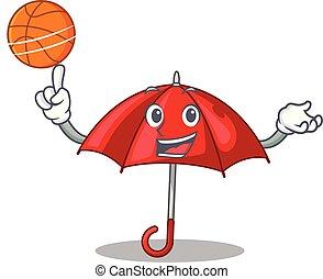 bonito, personagem, basquetebol, guarda-chuva, vermelho
