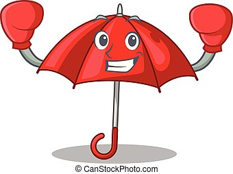 bonito, personagem, boxe, guarda-chuva, vermelho