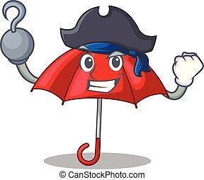 bonito, personagem, guarda-chuva, pirata, vermelho